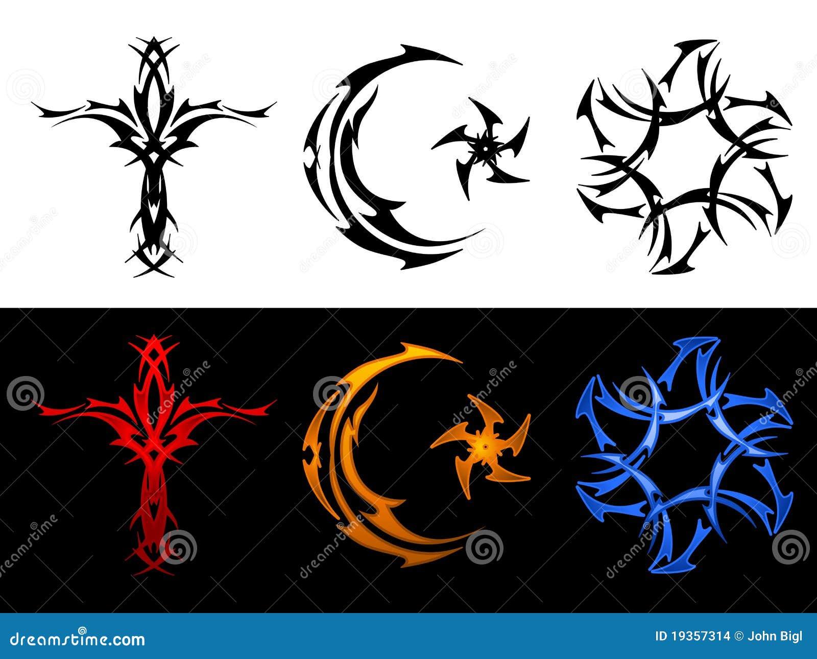 Três símbolos religiosos tribais