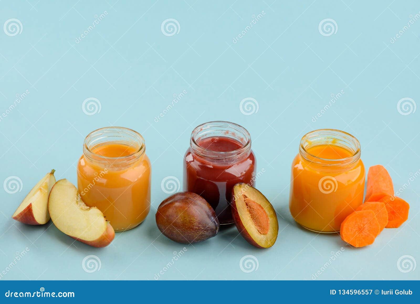 Três sabores do comida para bebê