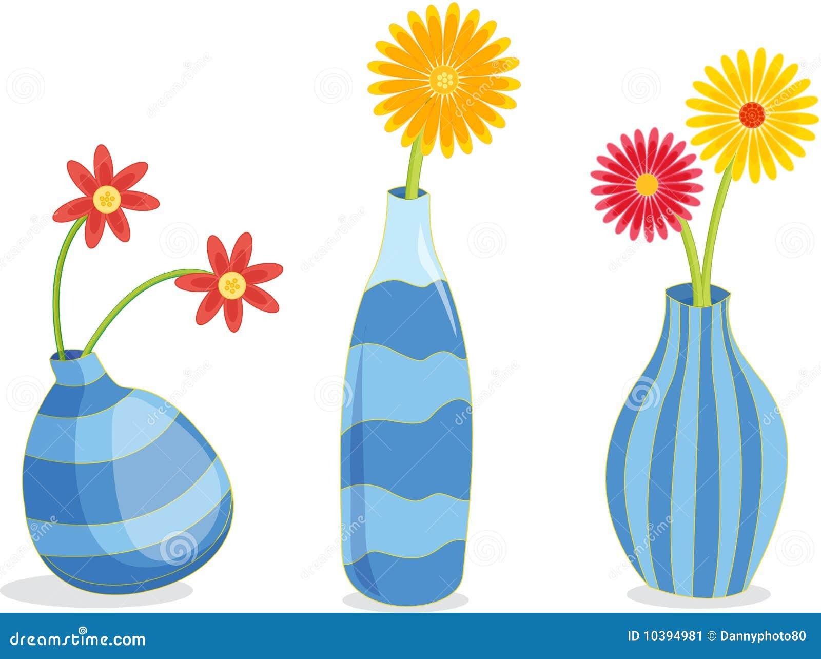 Três vasos azuis