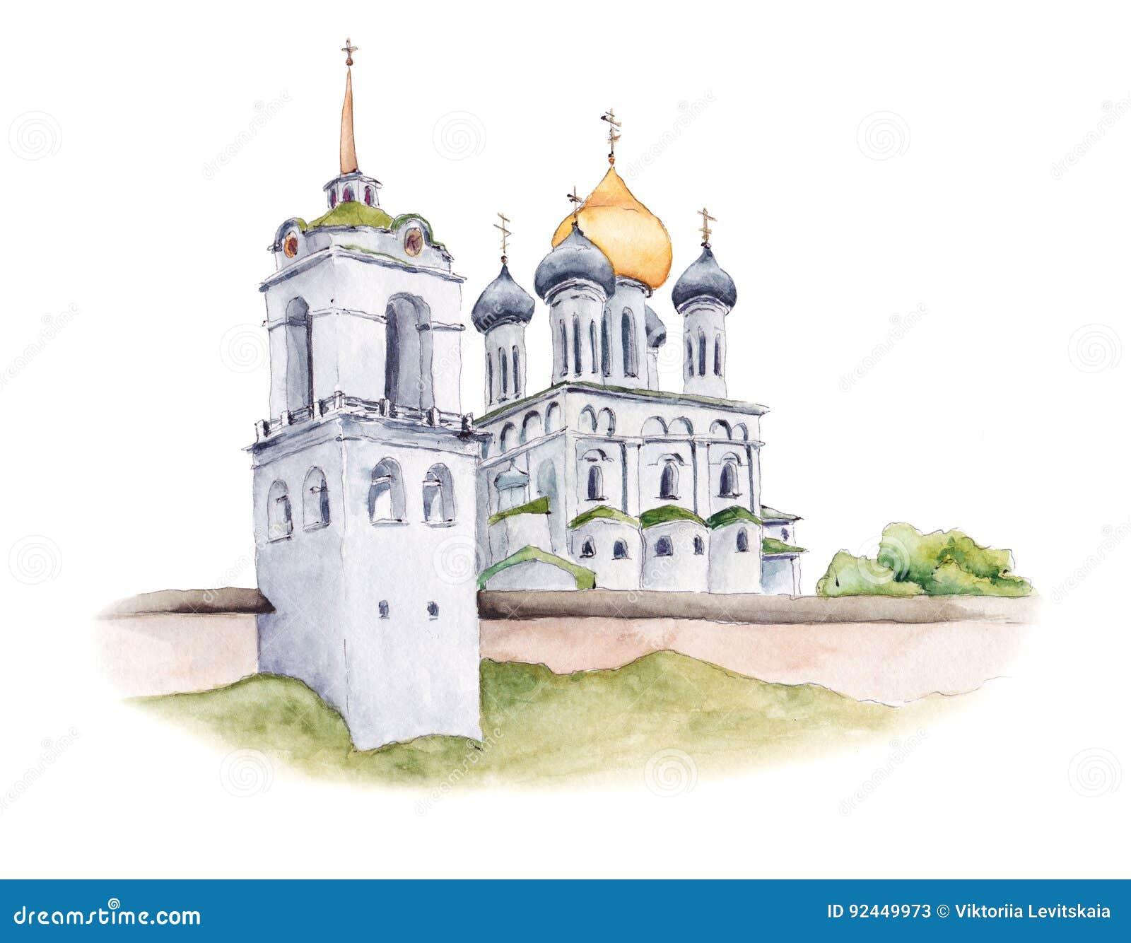 Trójcy katedra Pskov Kremlin, rosyjski kościół prawosławny, akwareli ilustracja