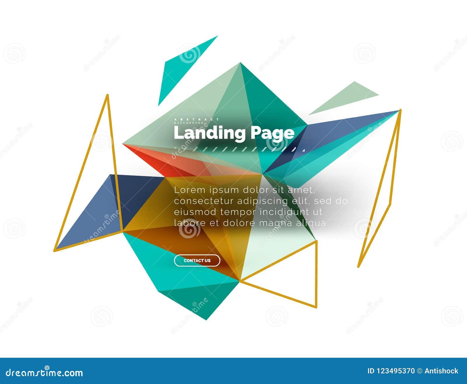 Trójgraniastego projekta abstrakcjonistyczny tło, ląduje stronę Niscy poli- stylowi kolorowi trójboki na bielu