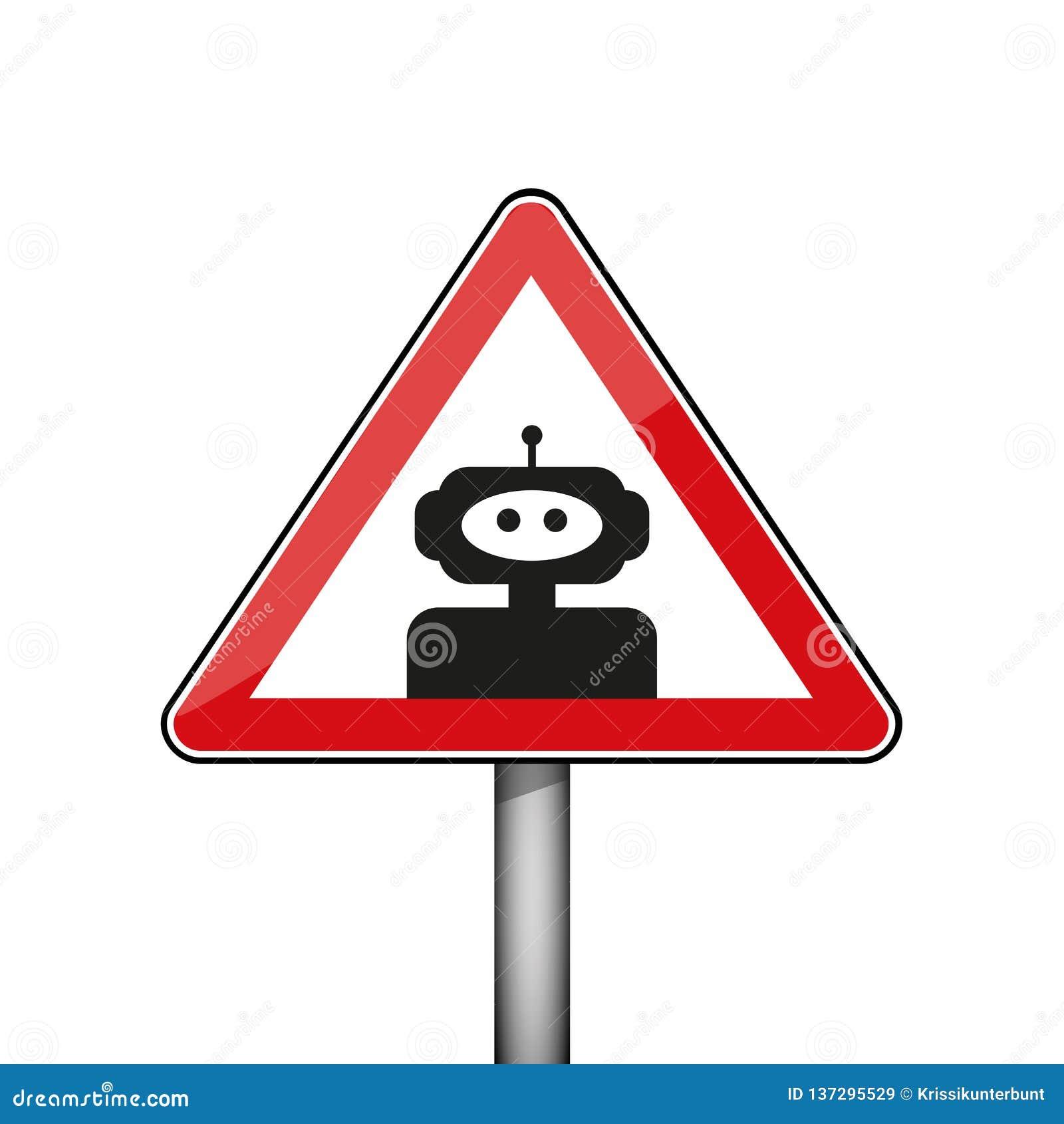 Trójgraniasty znak ostrzegawczy z robotem