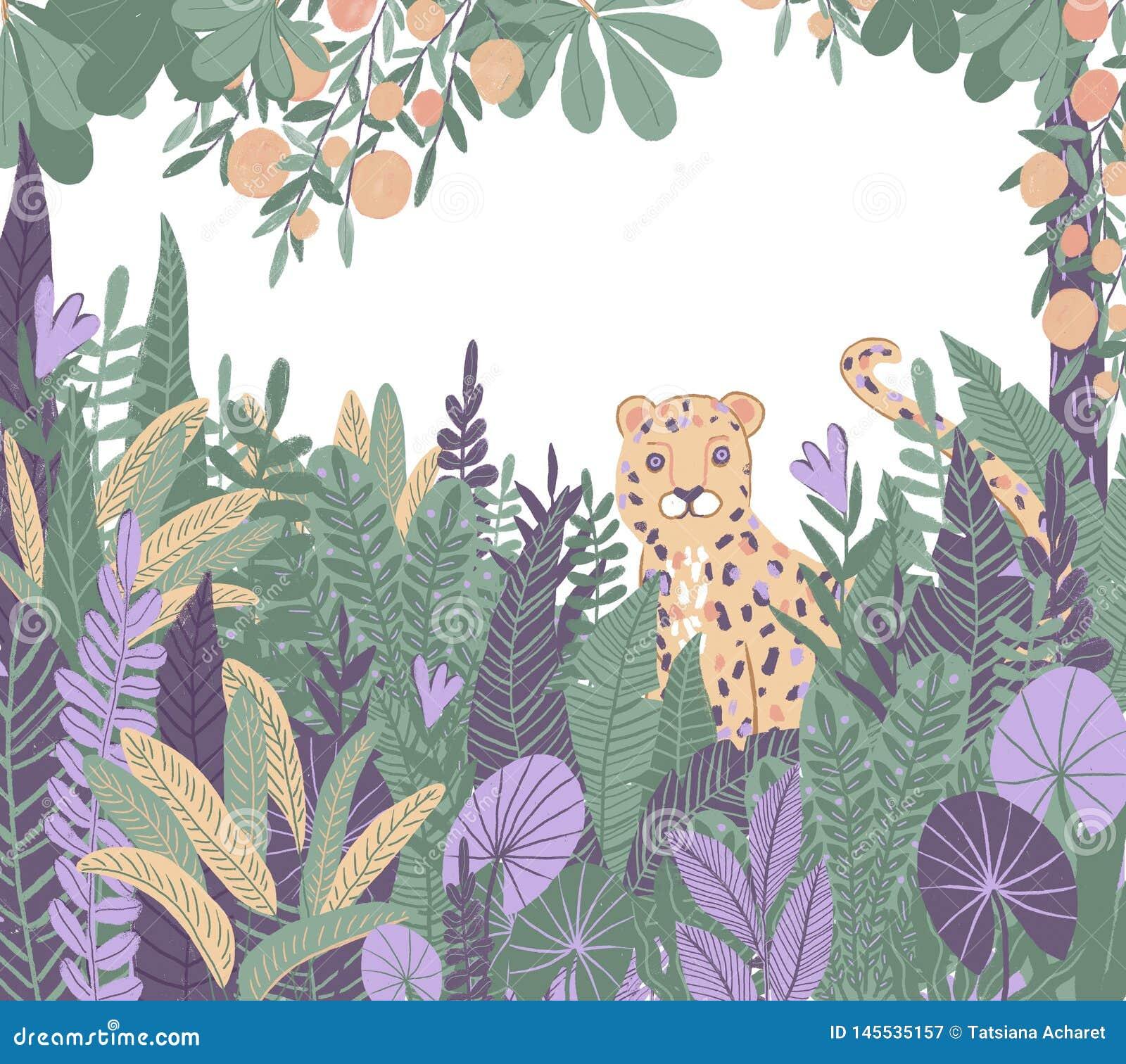 Trópicos exóticos Leopardo na selva Plantas e árvores tropicas