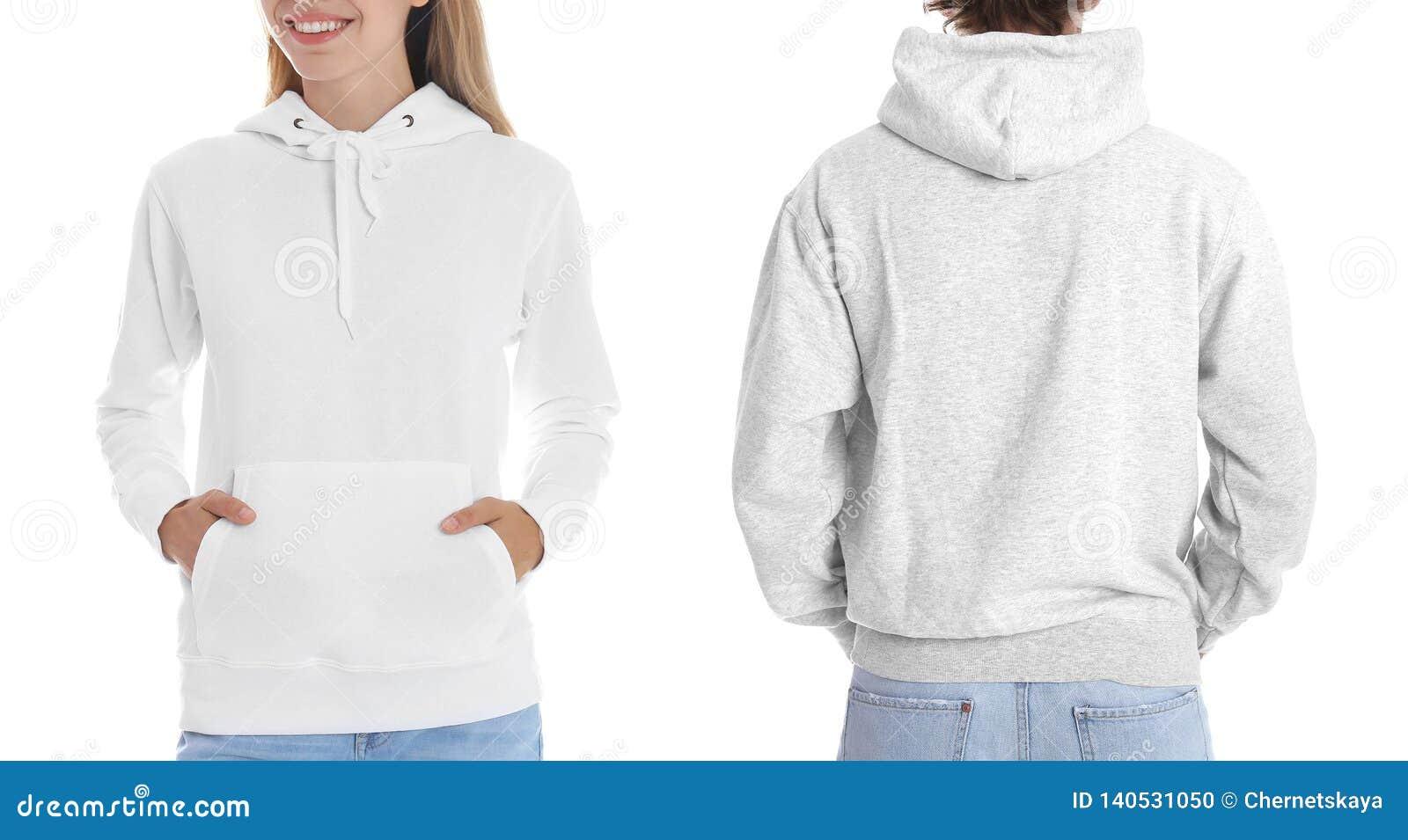Tröjor för folkblankohoodie på vit bakgrund, closeup