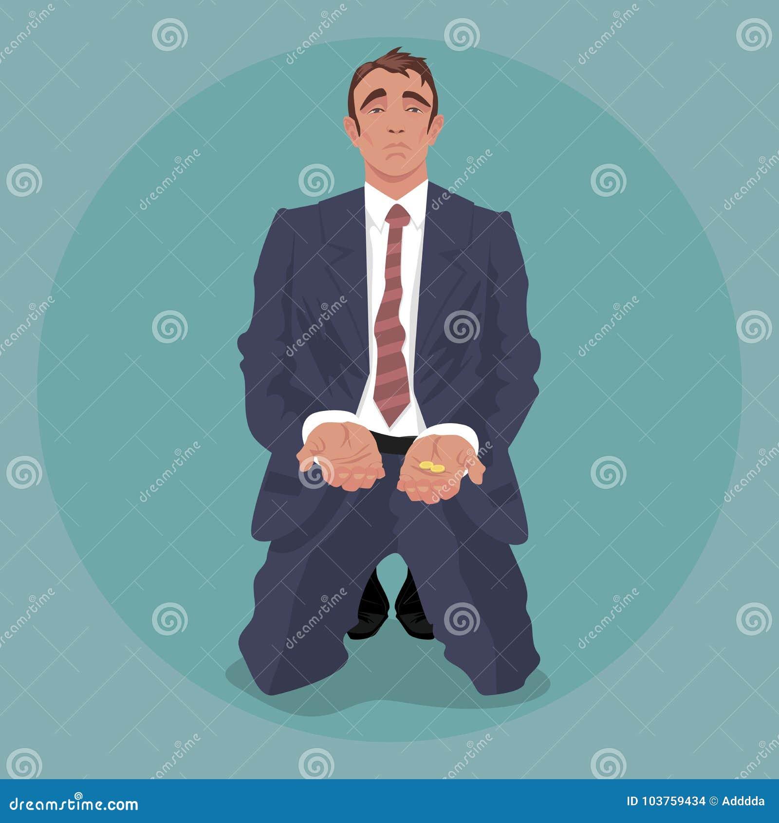 Trött affärsman som knäfaller och tigger