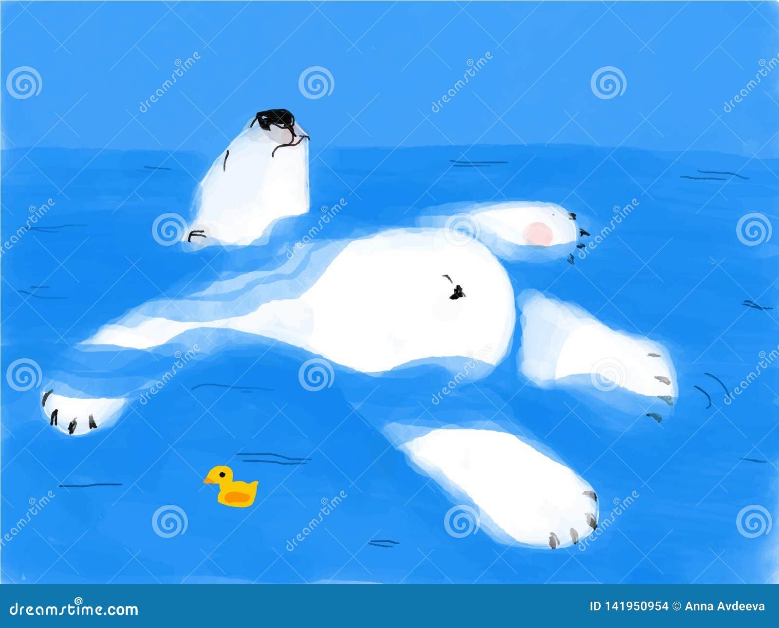 Trötta björnflöten på vatten