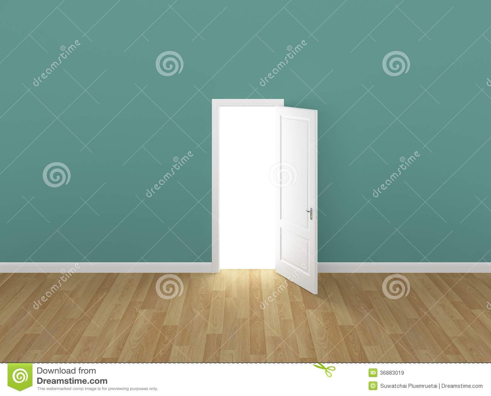 Tür offen auf grüner wand, 3d lizenzfreie stockbilder   bild: 36883019