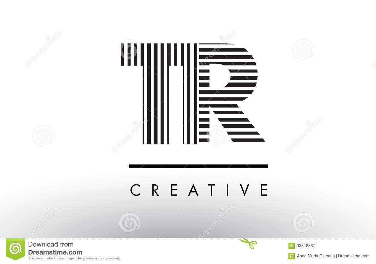 tr t r black and white lines letter logo design stock vector illustration 93518567. Black Bedroom Furniture Sets. Home Design Ideas