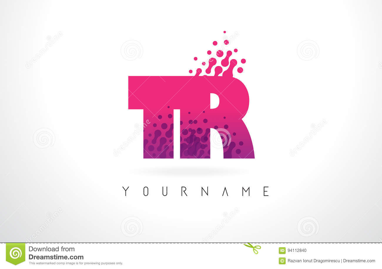 TR T R Letter Logo With Pink Purple Color And Particles Dots Des ...