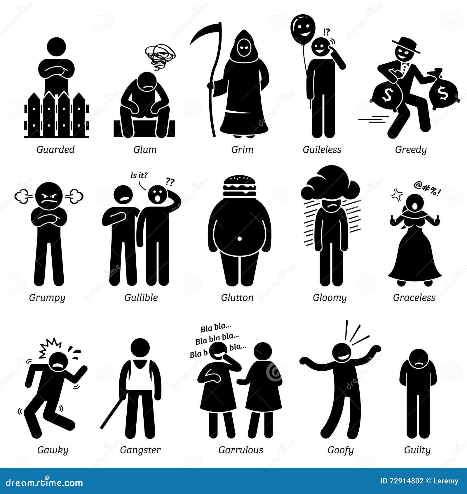 Traços de caráter negativos Clipart das personalidades