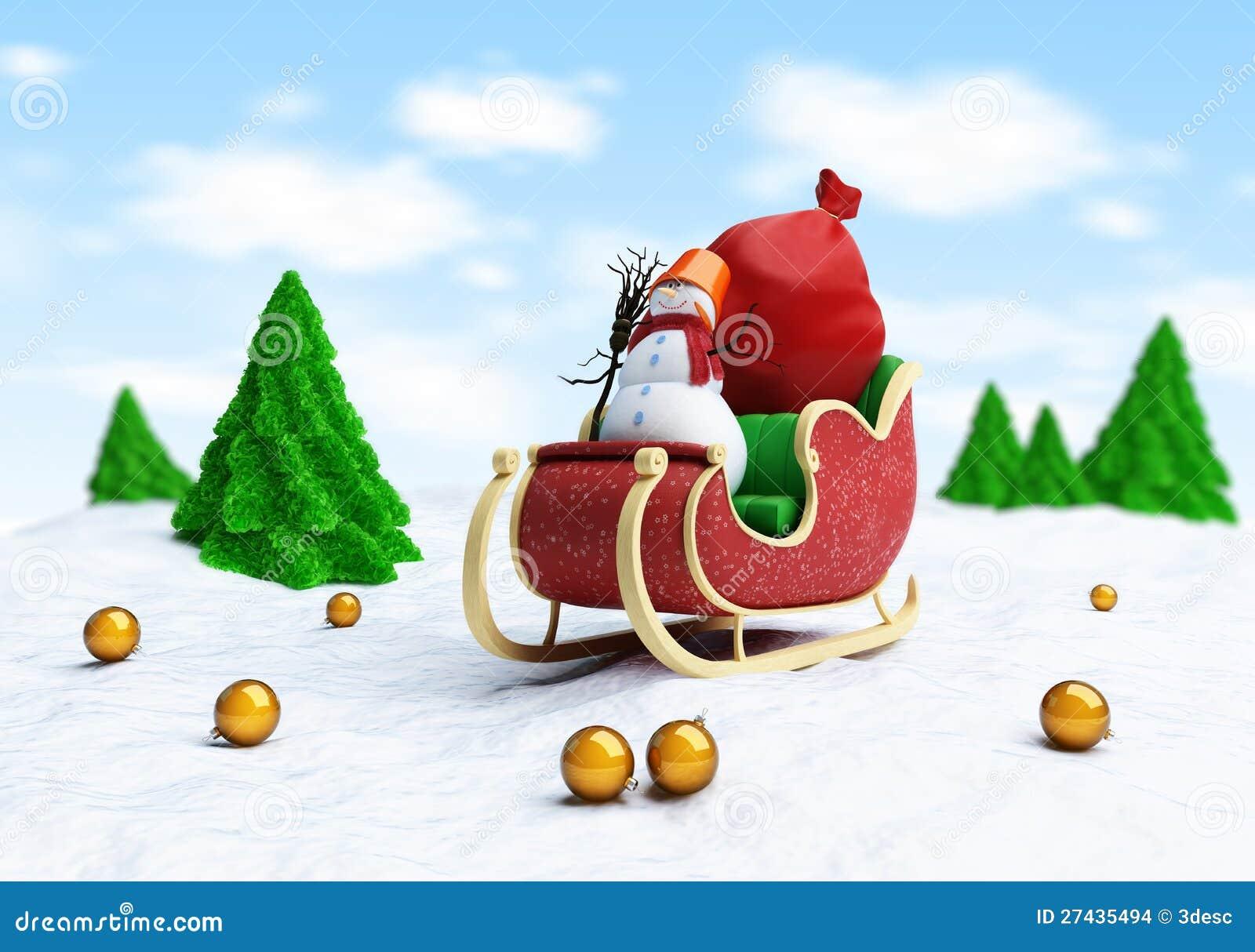 Traîneau de Santa et sac de Santa avec le bonhomme de neige de cadeaux