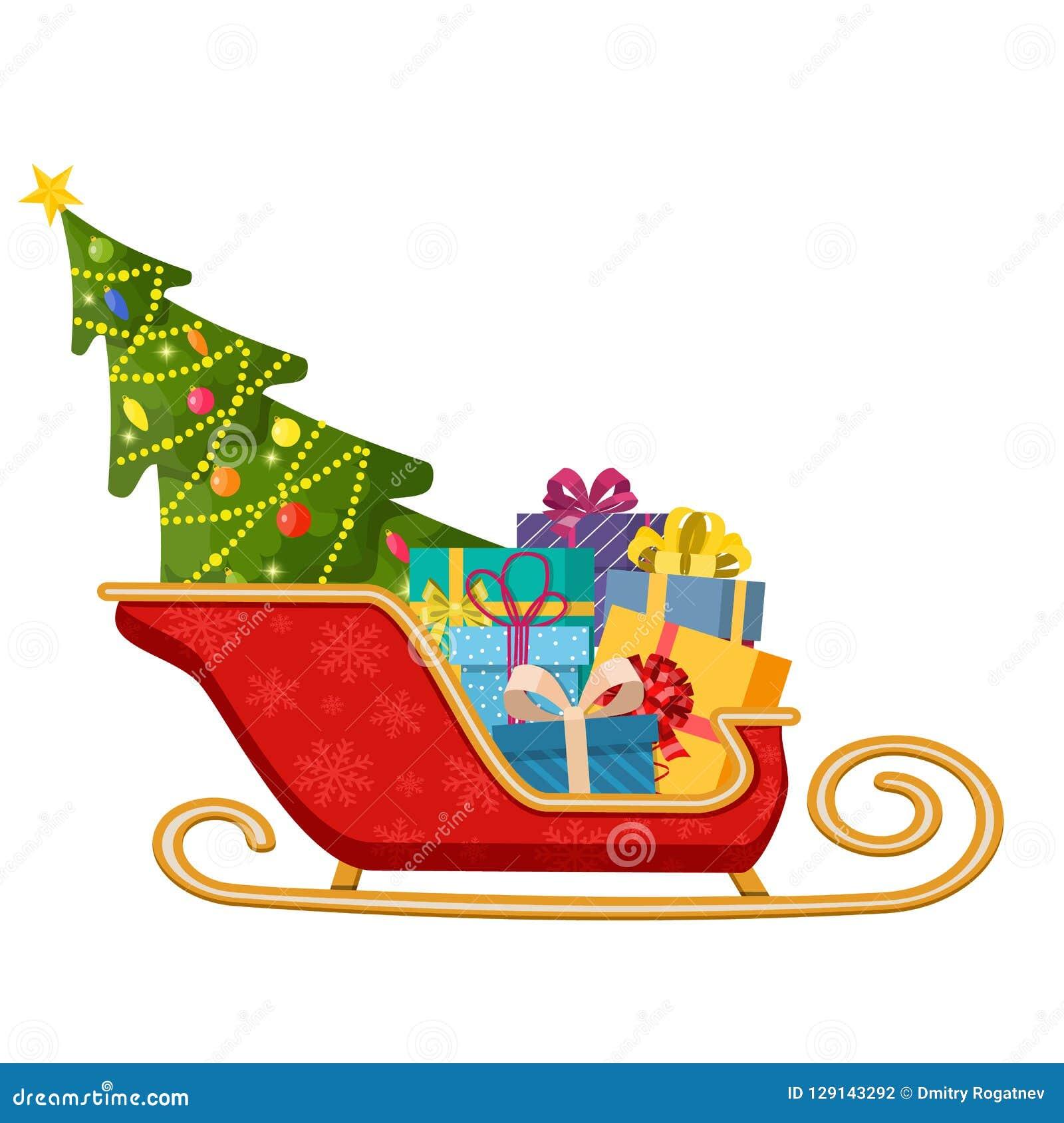 Traîneau Du Père Noël Avec Les Cadeaux Et Larbre De Noël