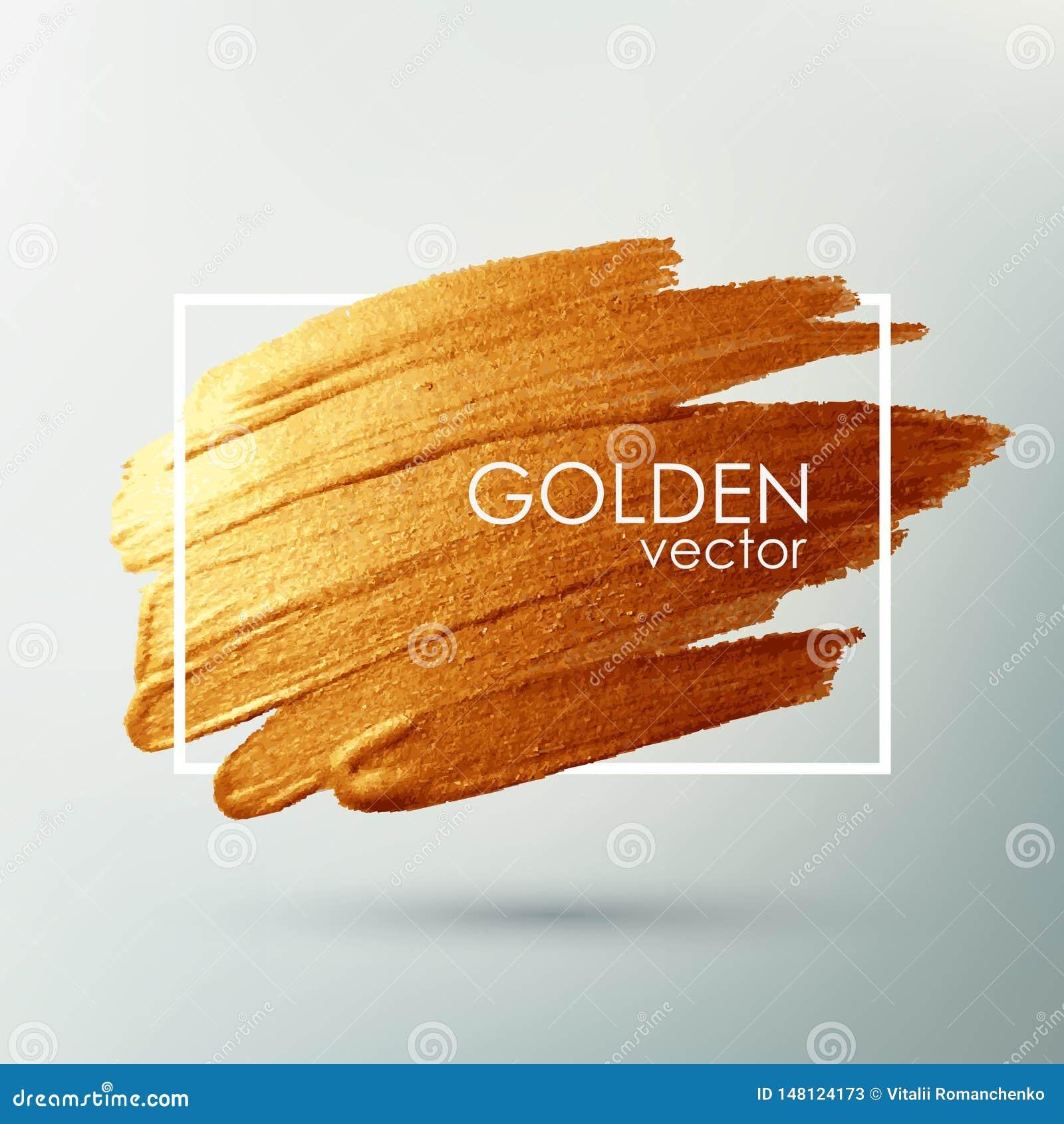 Tra?age de vecteur Calomnie avec une brosse artistique Texture grunge d or dans un cadre