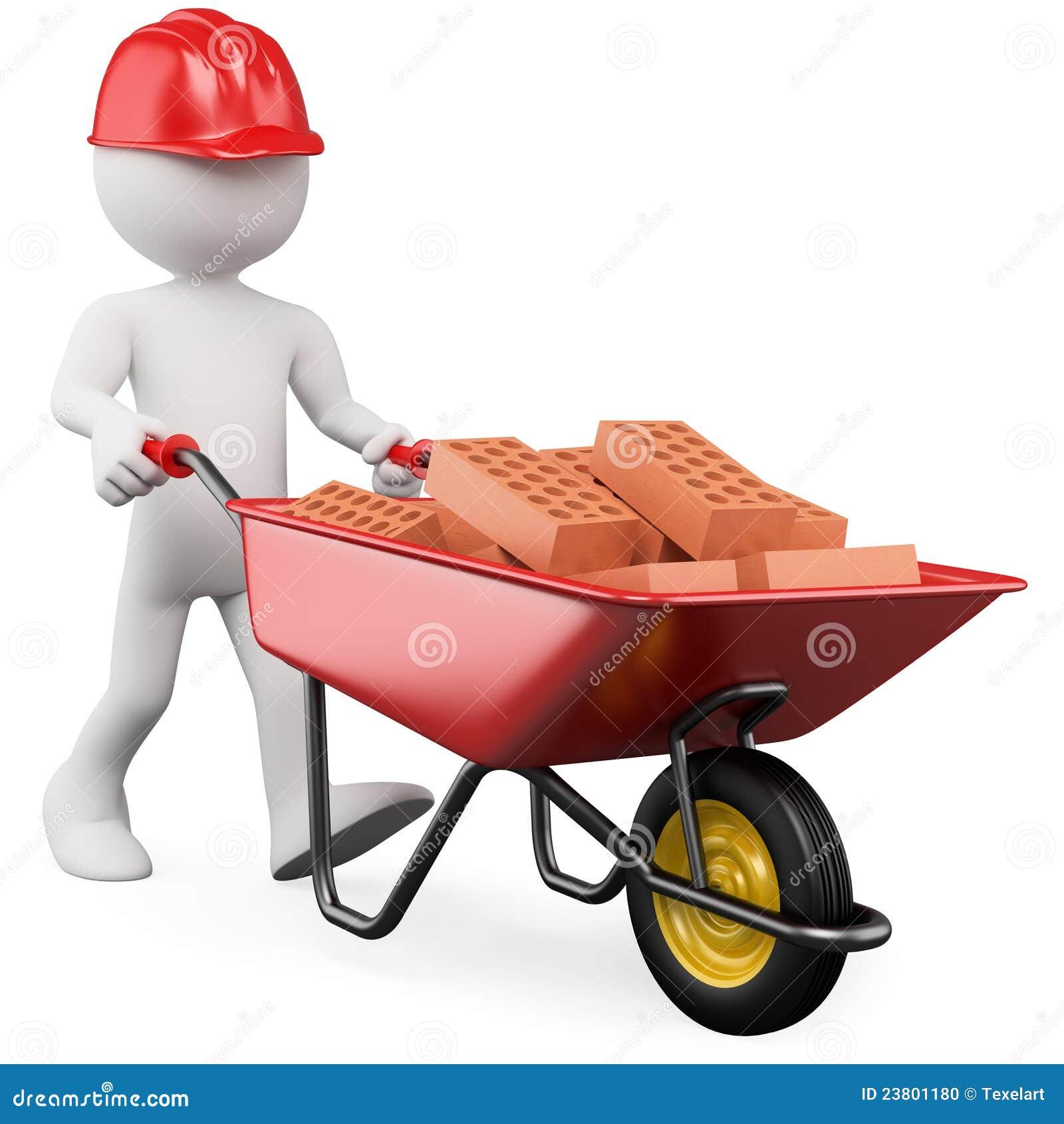 Trabajador 3d que empuja una carretilla con los ladrillos for Construccion de piscinas con ladrillos