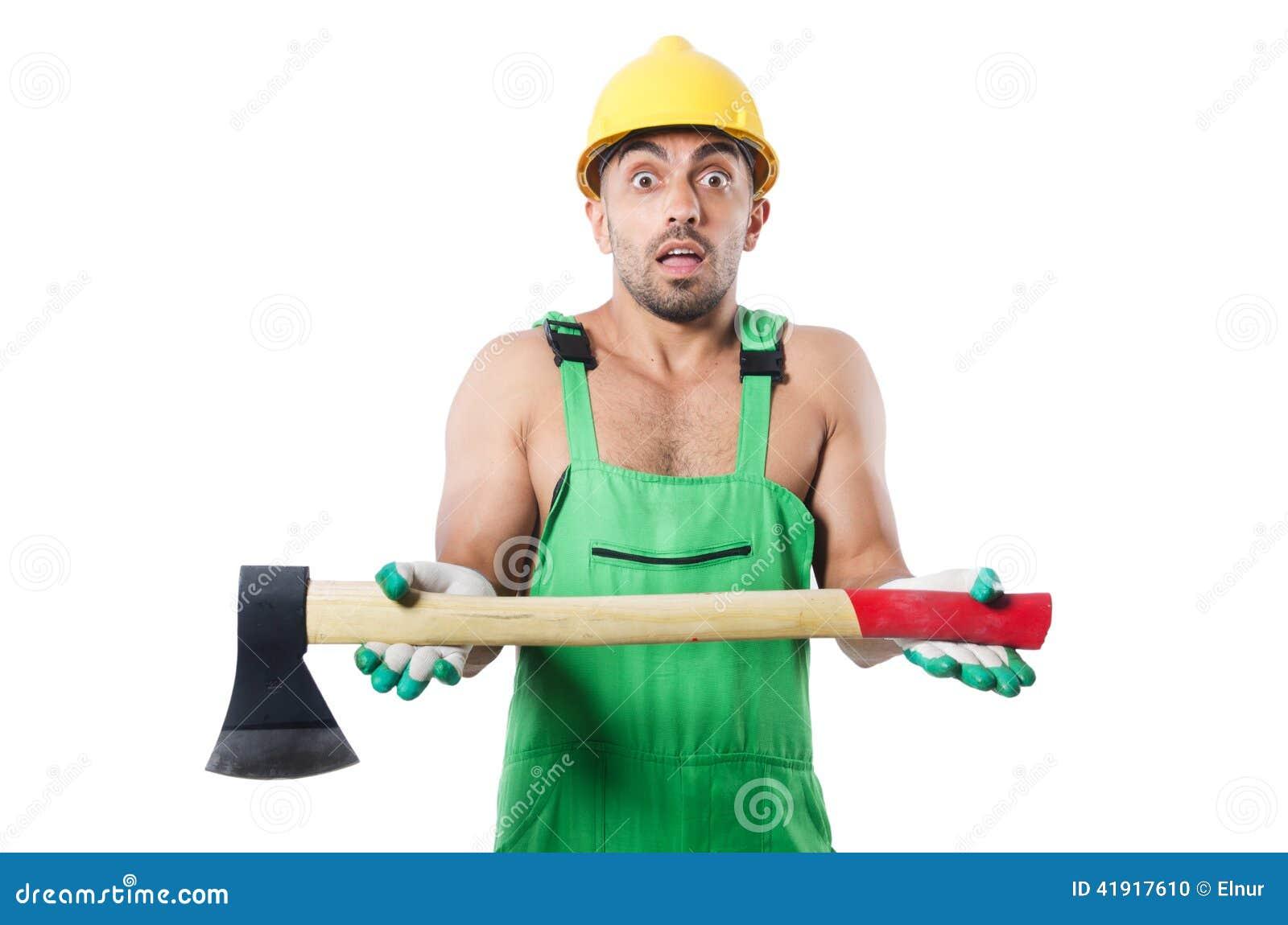 Trabajador con el hacha aislada
