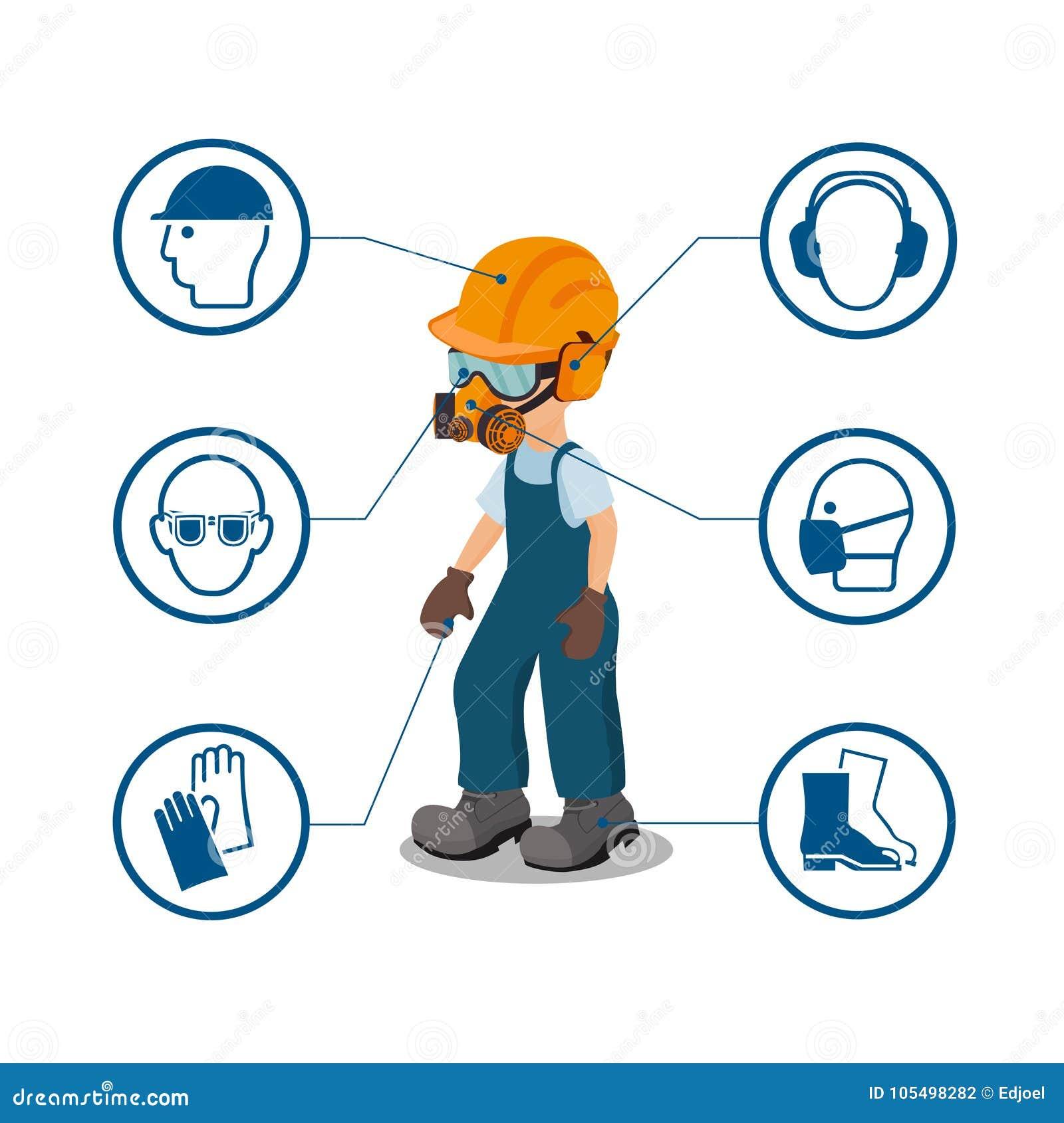 Trabajador con sus iconos del equipo protector personal y de la seguridad Ilustration del vector