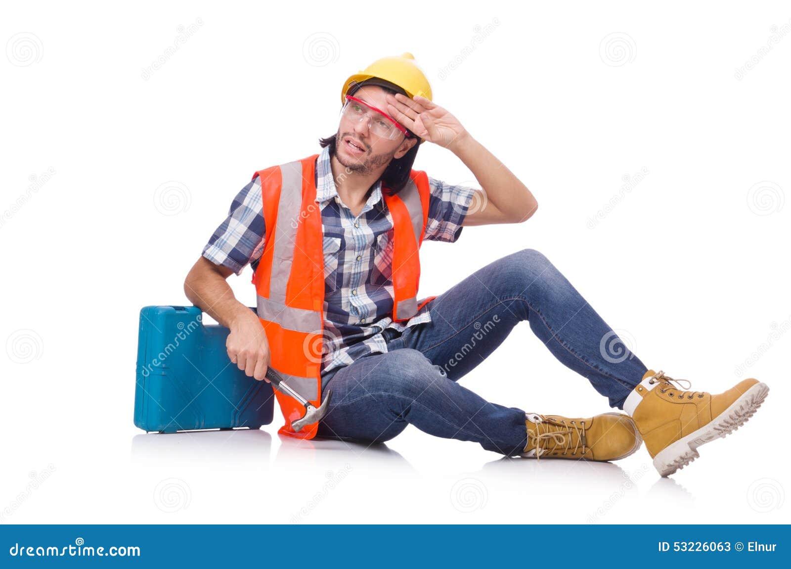 Trabajador de construcción con la caja de herramientas aislada encendido