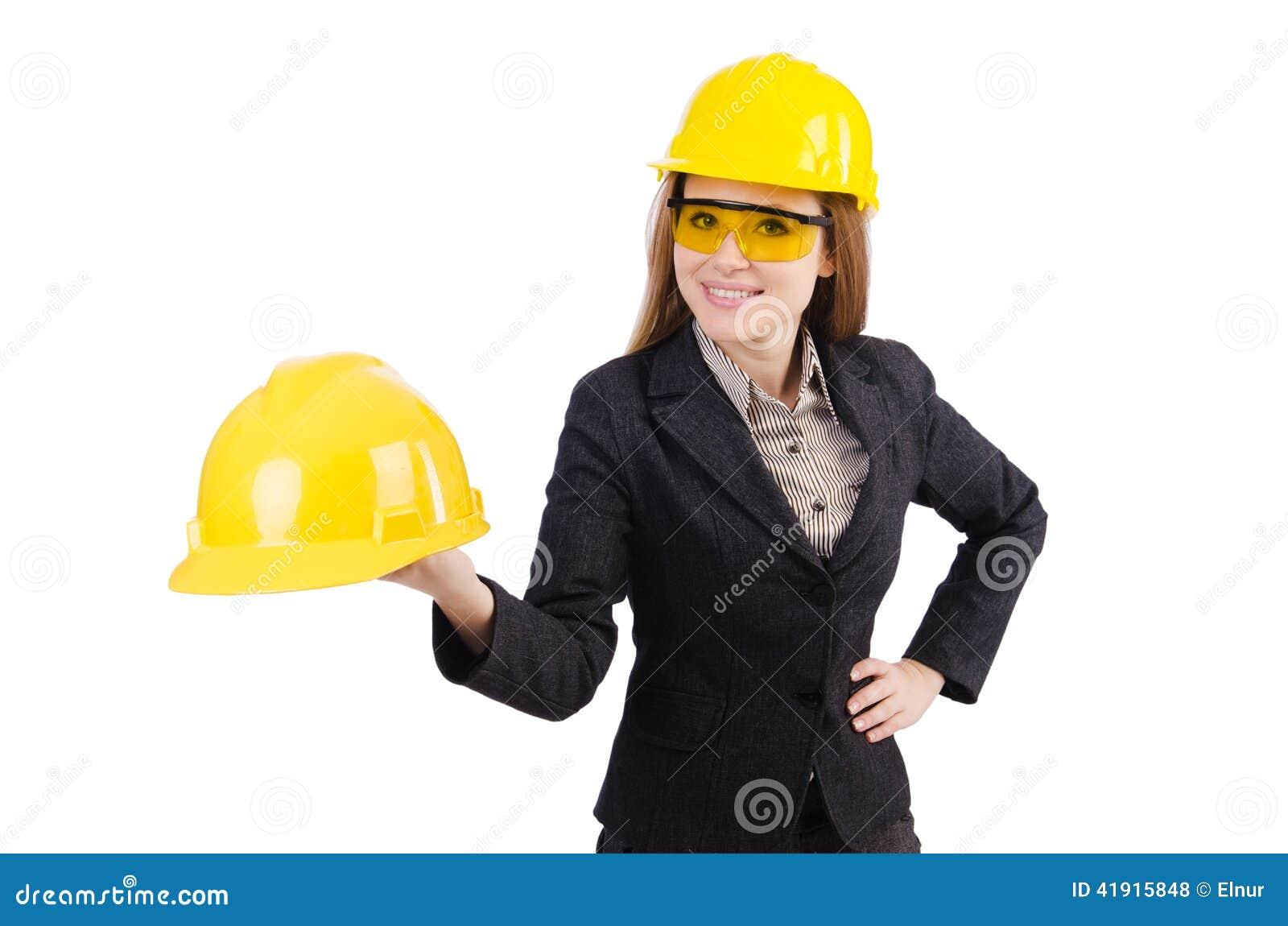 Trabajador de construcción de la mujer aislado