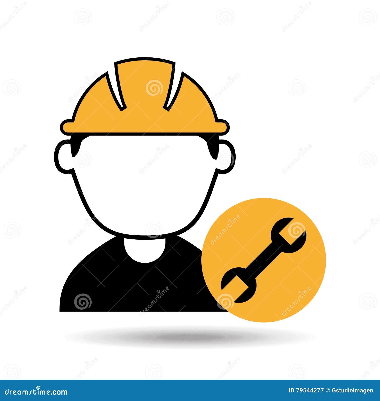 Trabajador de construcción del hombre del avatar con el icono de la herramienta de la llave