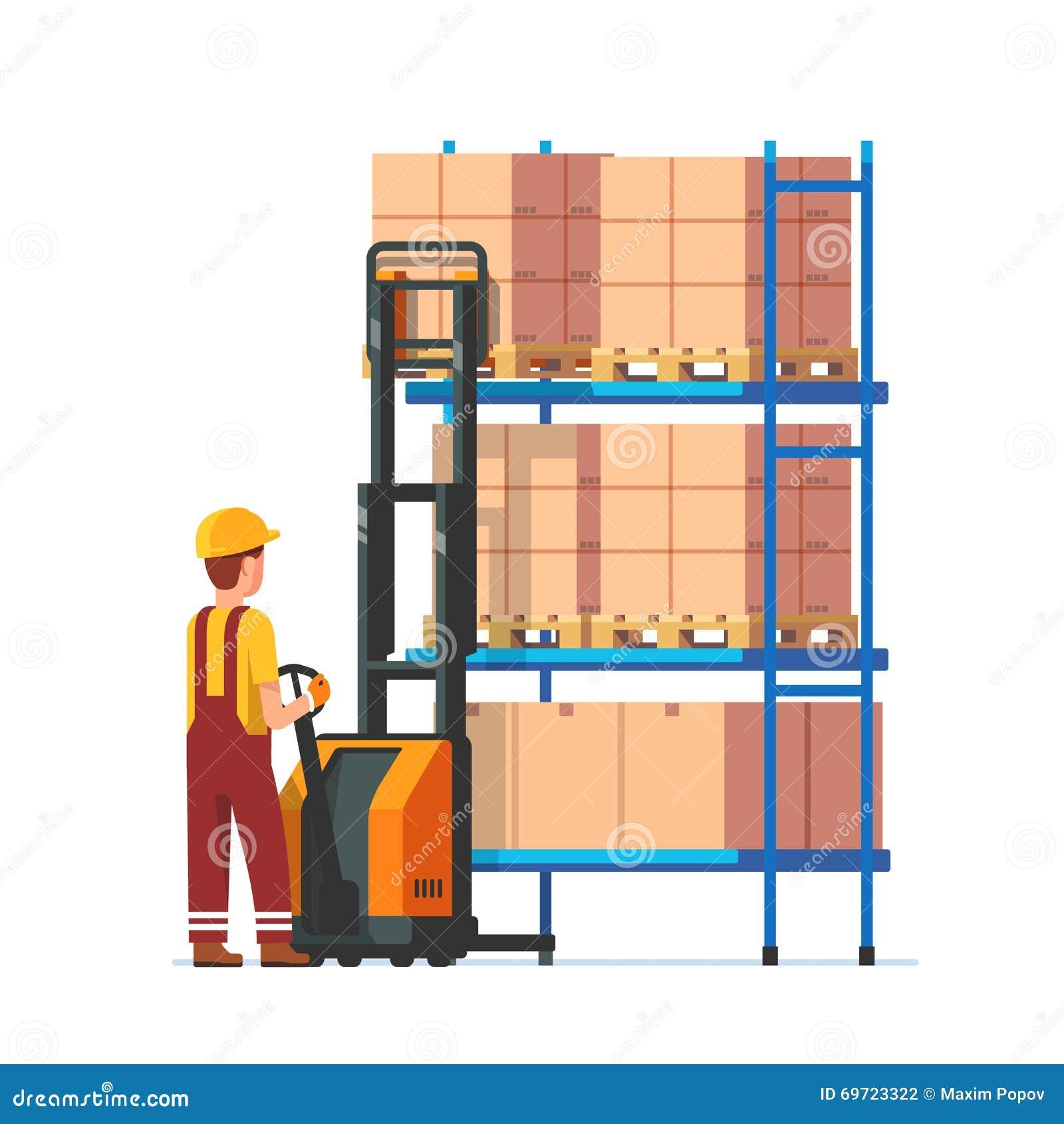 Trabajador de Warehouse que actúa el levantador eléctrico de la bifurcación