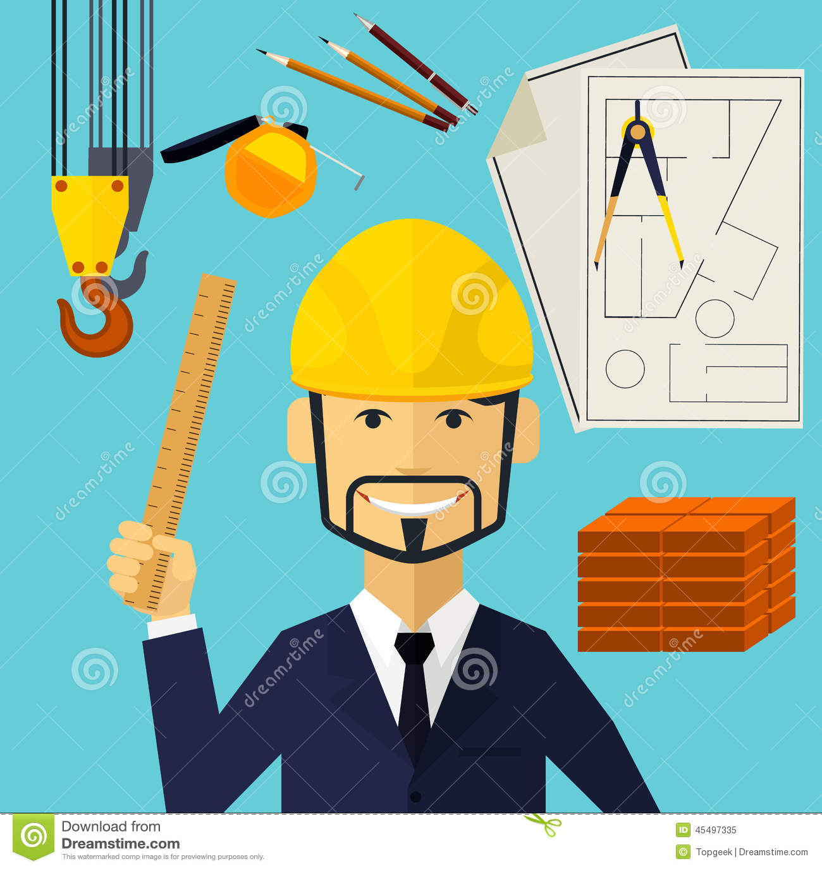 Trabajador del constructor del arquitecto en su lugar de for Trabajo de arquitecto