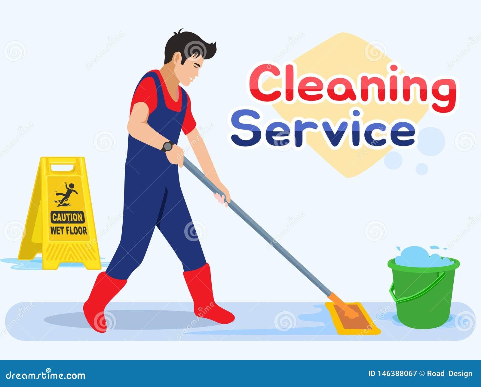 Trabajador del hombre que aljofifa el piso Servicio masculino de la limpieza Ejemplo del vector en un estilo plano
