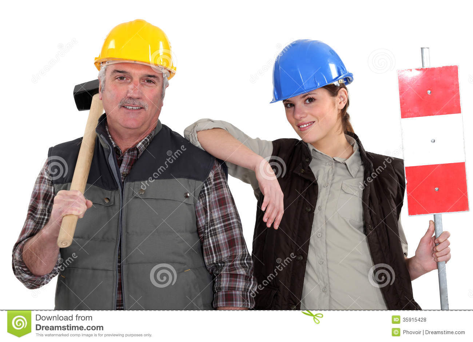 Trabajador manual y su aprendiz.