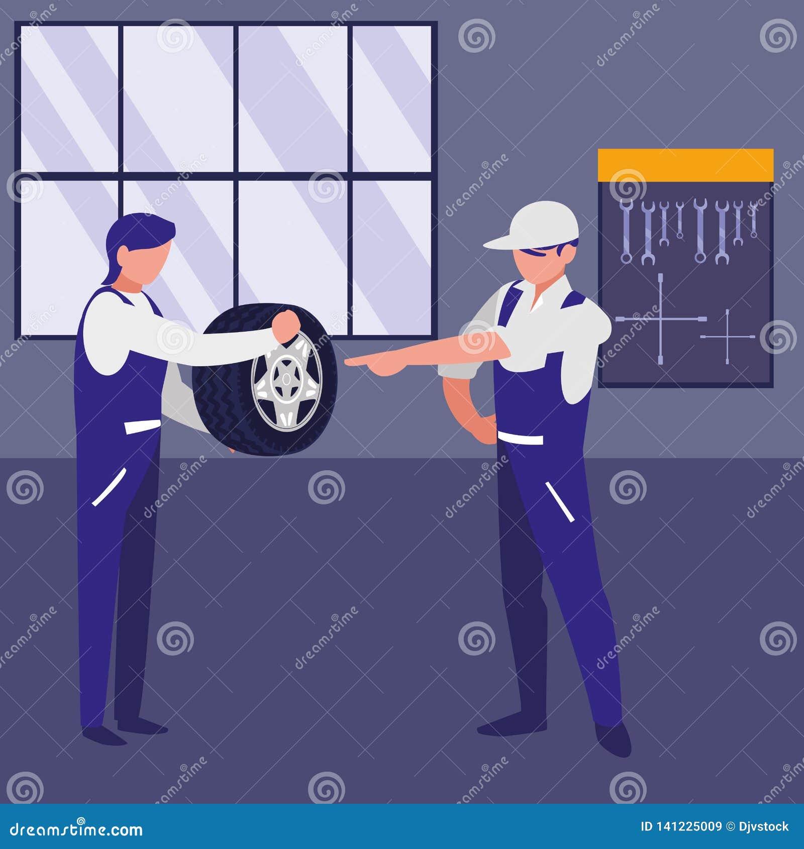 Trabajadores de los mecánicos con los caracteres del coche del neumático