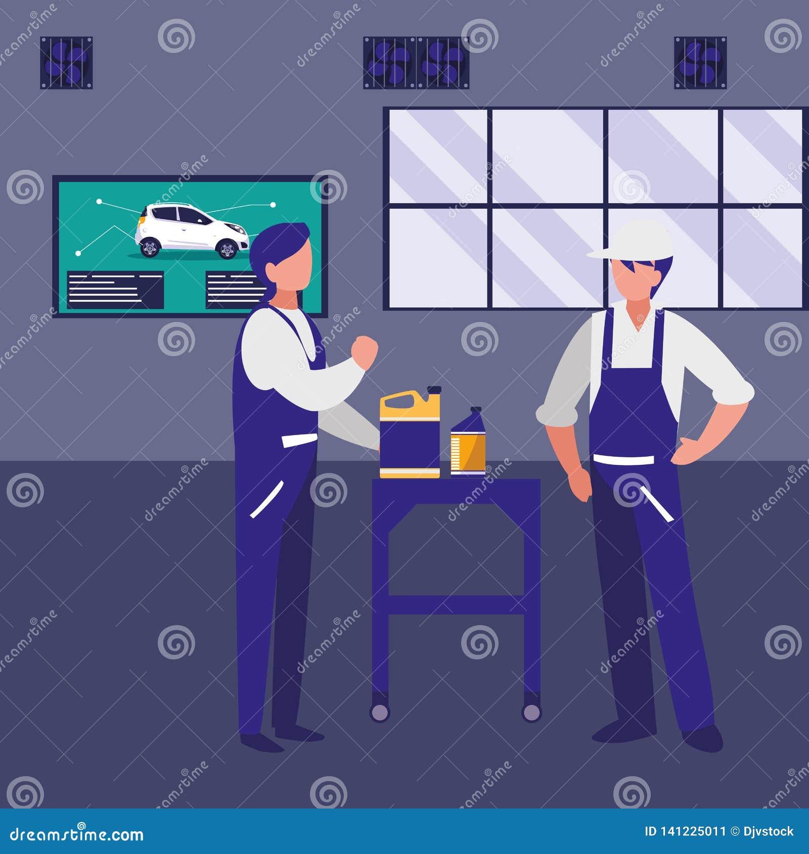 Trabajadores de los mecánicos con los caracteres del galón del aceite