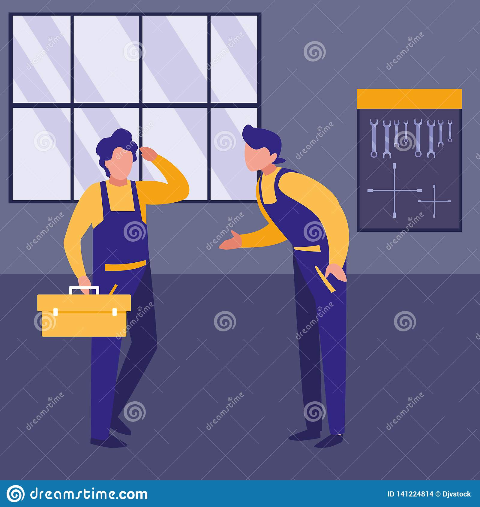 Trabajadores de los mecánicos con los caracteres de la caja de herramientas