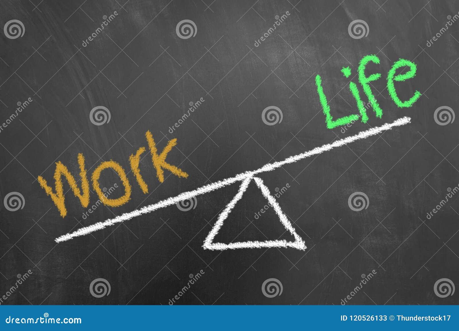 Trabaje el dibujo de tiza del desequilibrio de la vida en la pizarra o la pizarra