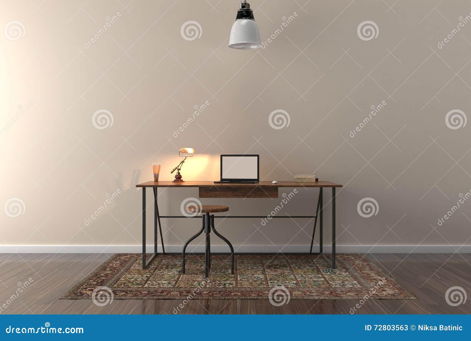 Trabaje el escritorio en sitio vacío con la pared grande en fondo