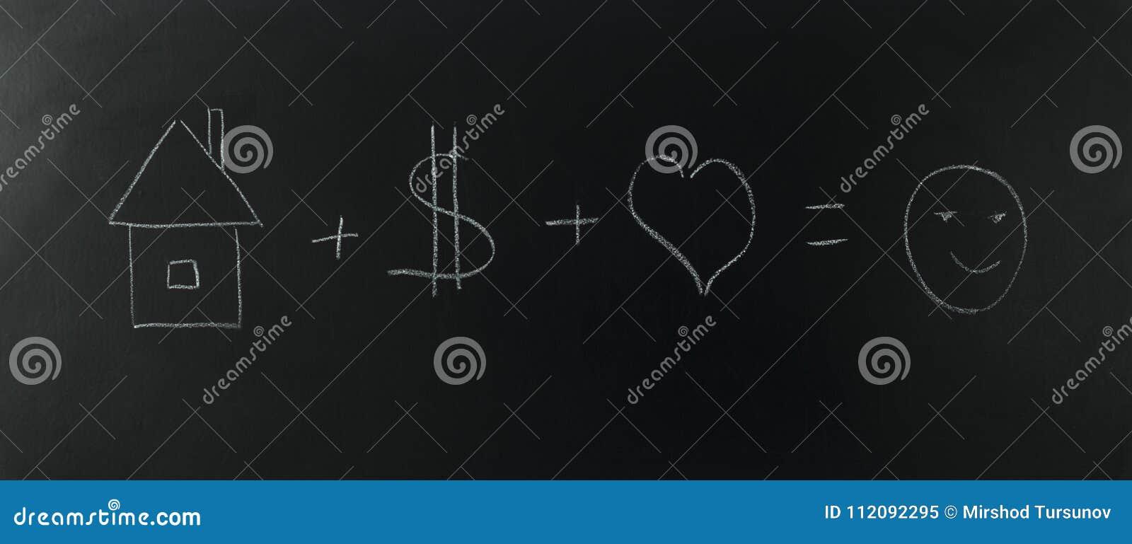 Trabaje para el concepto de la meta, amor casero del dinero