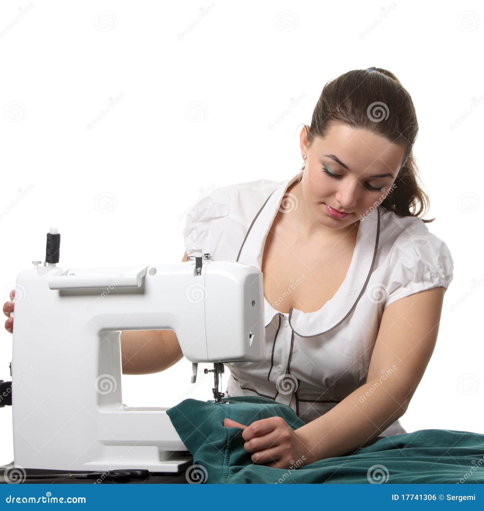Trabajo De La Costurera Sobre La Coser-máquina Foto de archivo ...
