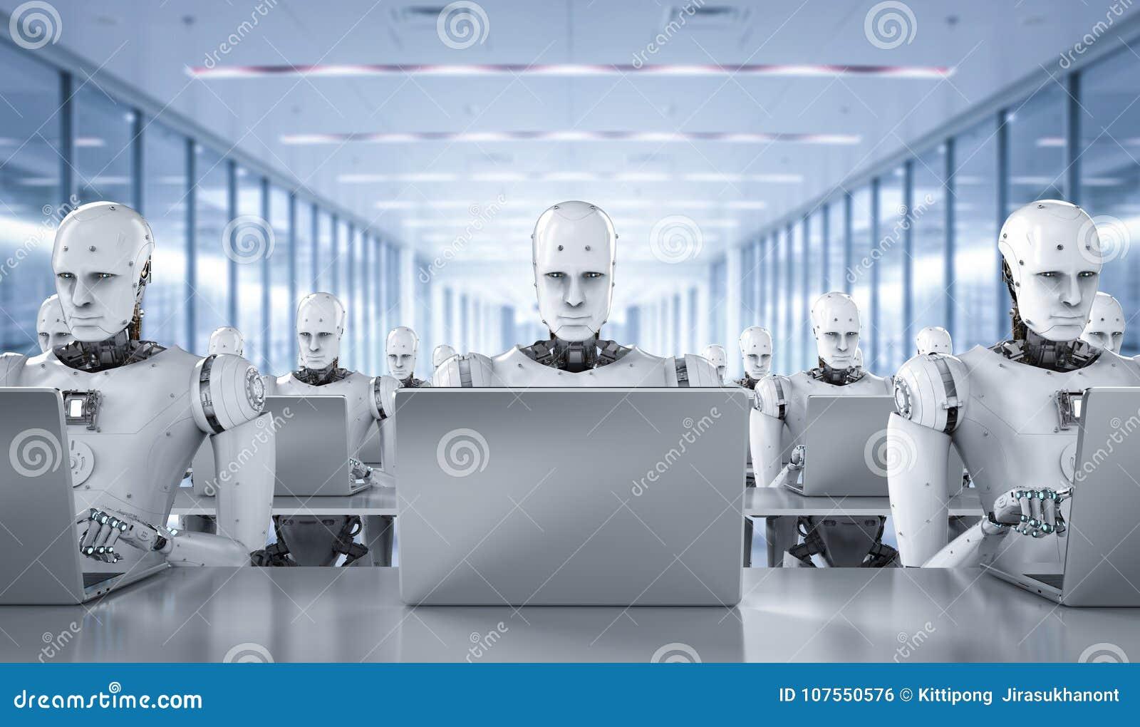 Trabajo de los robots sobre el ordenador portátil