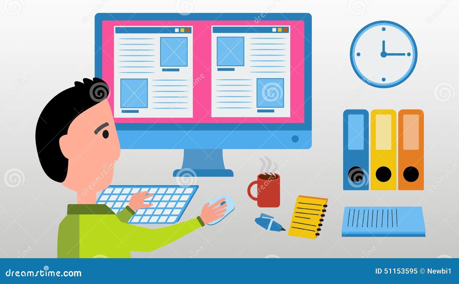 Trabajo del diseñador web sobre el ordenador