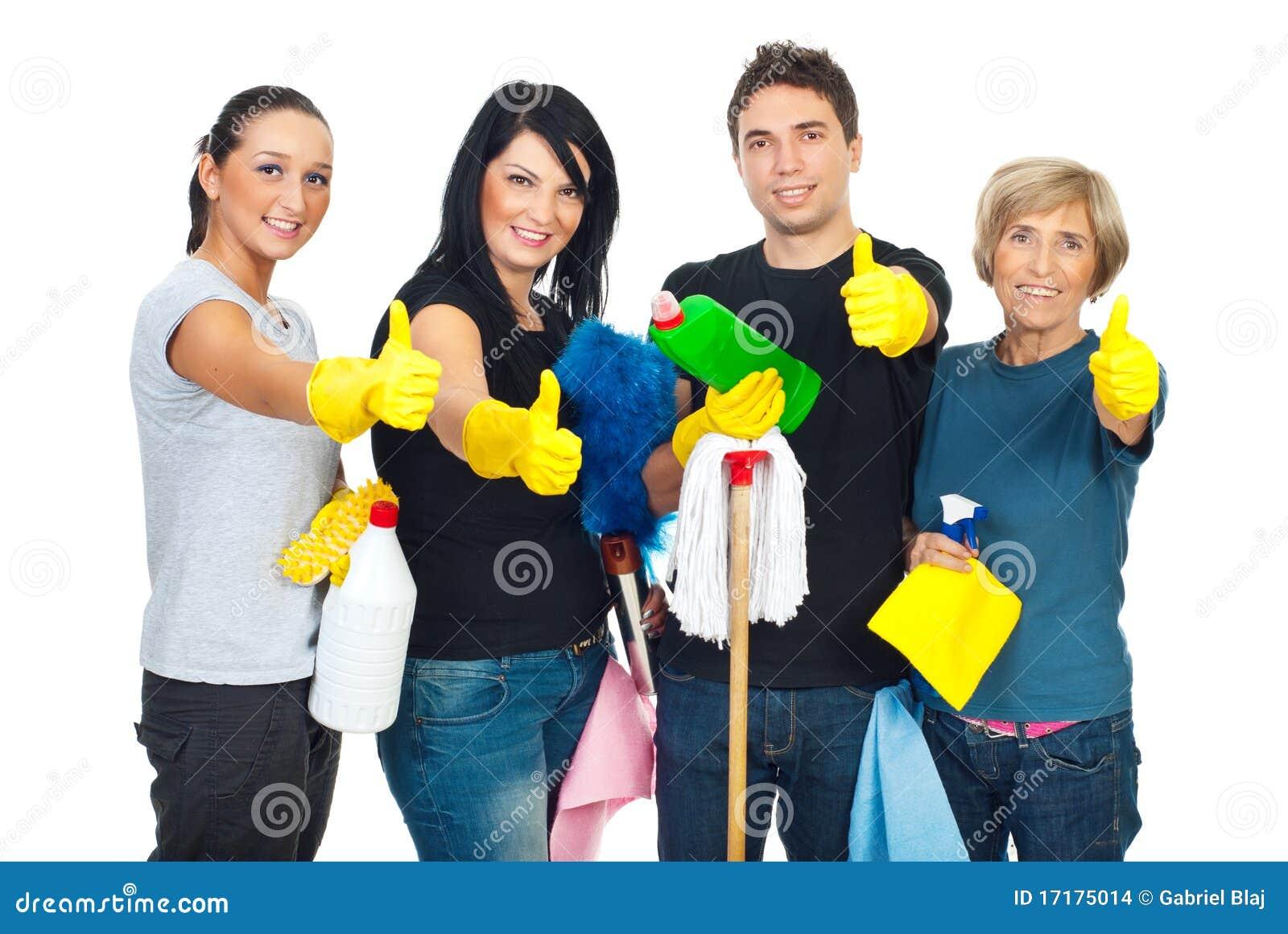 Trabajo En Equipo Acertado De La Gente De La Limpieza Foto de ...