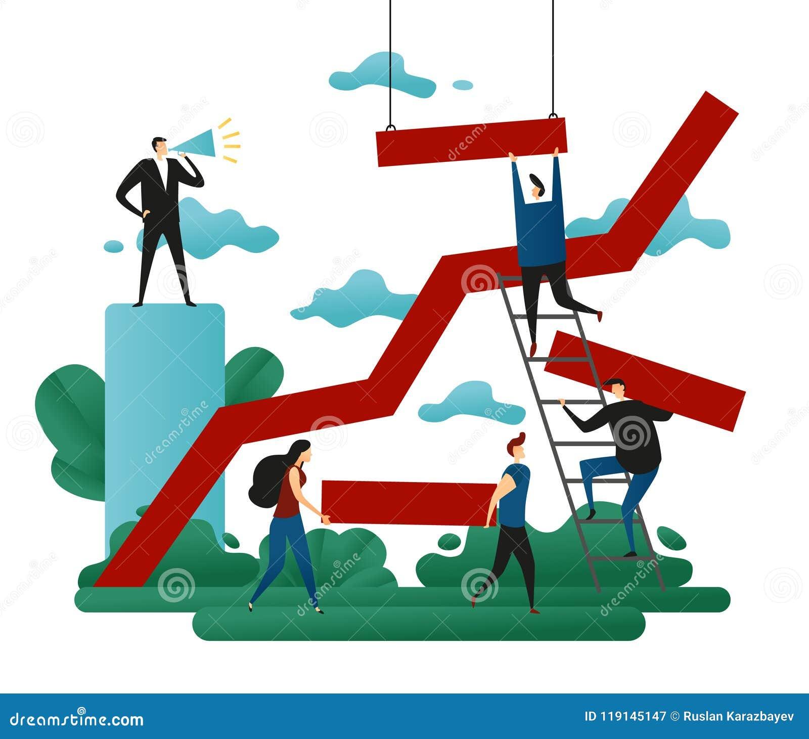 Trabajo en equipo de la cooperativa de la oficina Edificio del éxito Línea dirección del crecimiento a una trayectoria acertada E