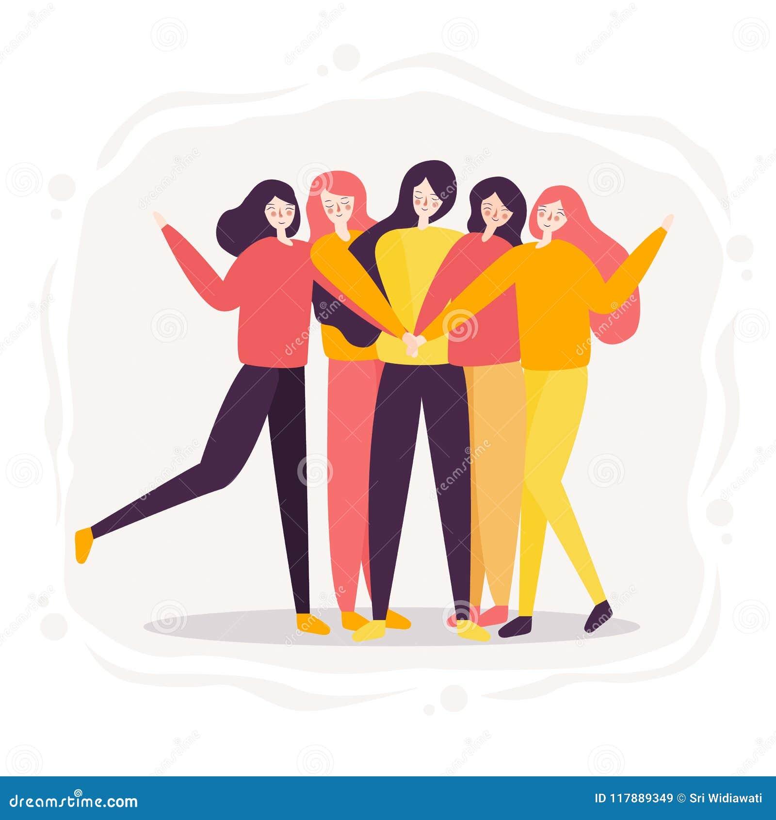 Trabajo En Equipo Del Alto Acertado Cinco De La Mujer Junto Grupo