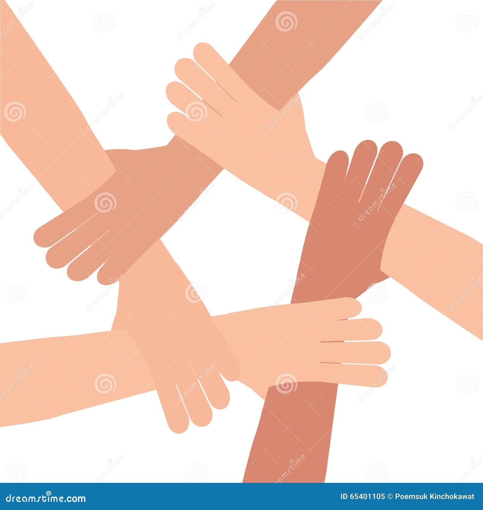 Trabajo en equipo humano de la conexión de la mano