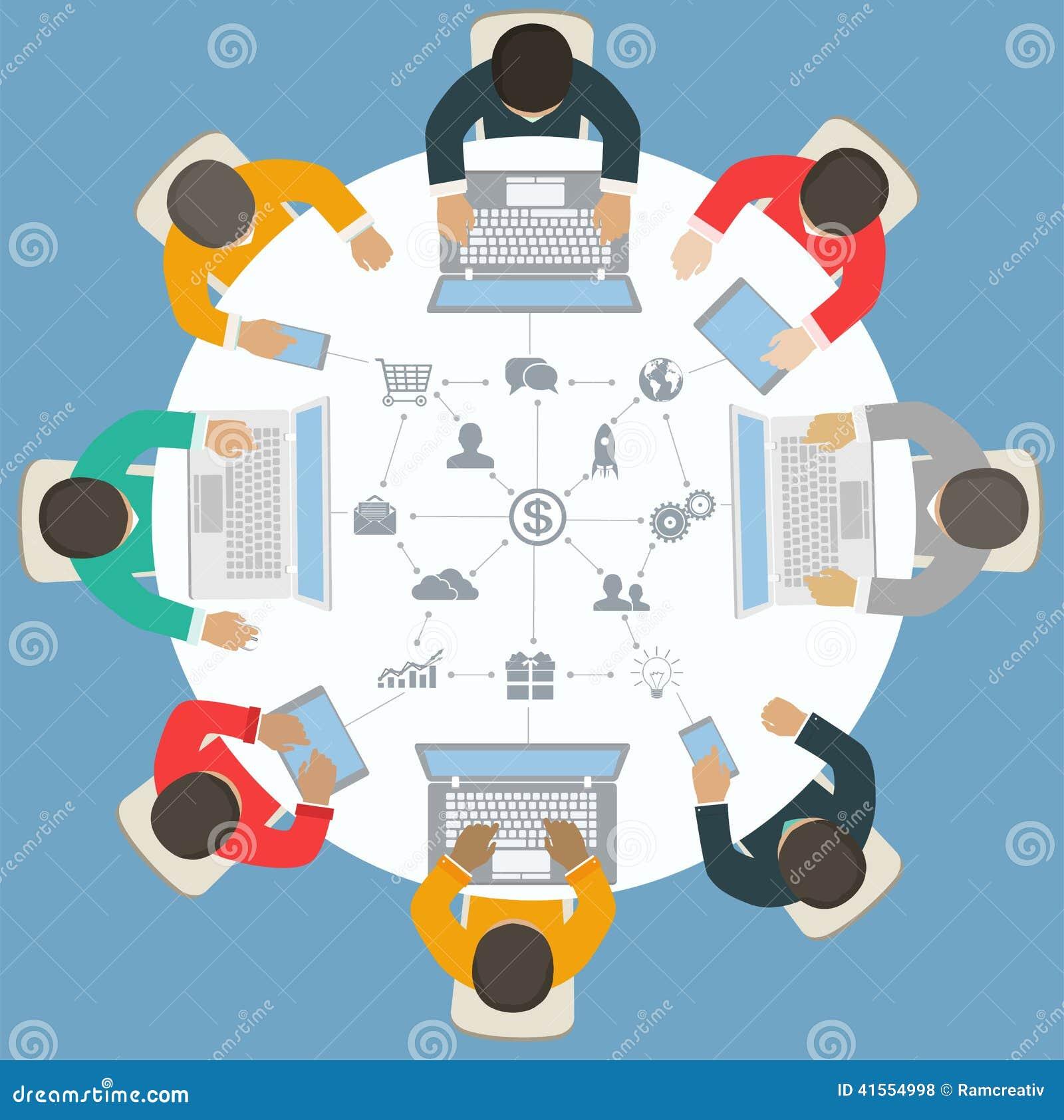 Round table meeting icon - Trabajo En Equipo Para La Mesa Redonda Estrategia