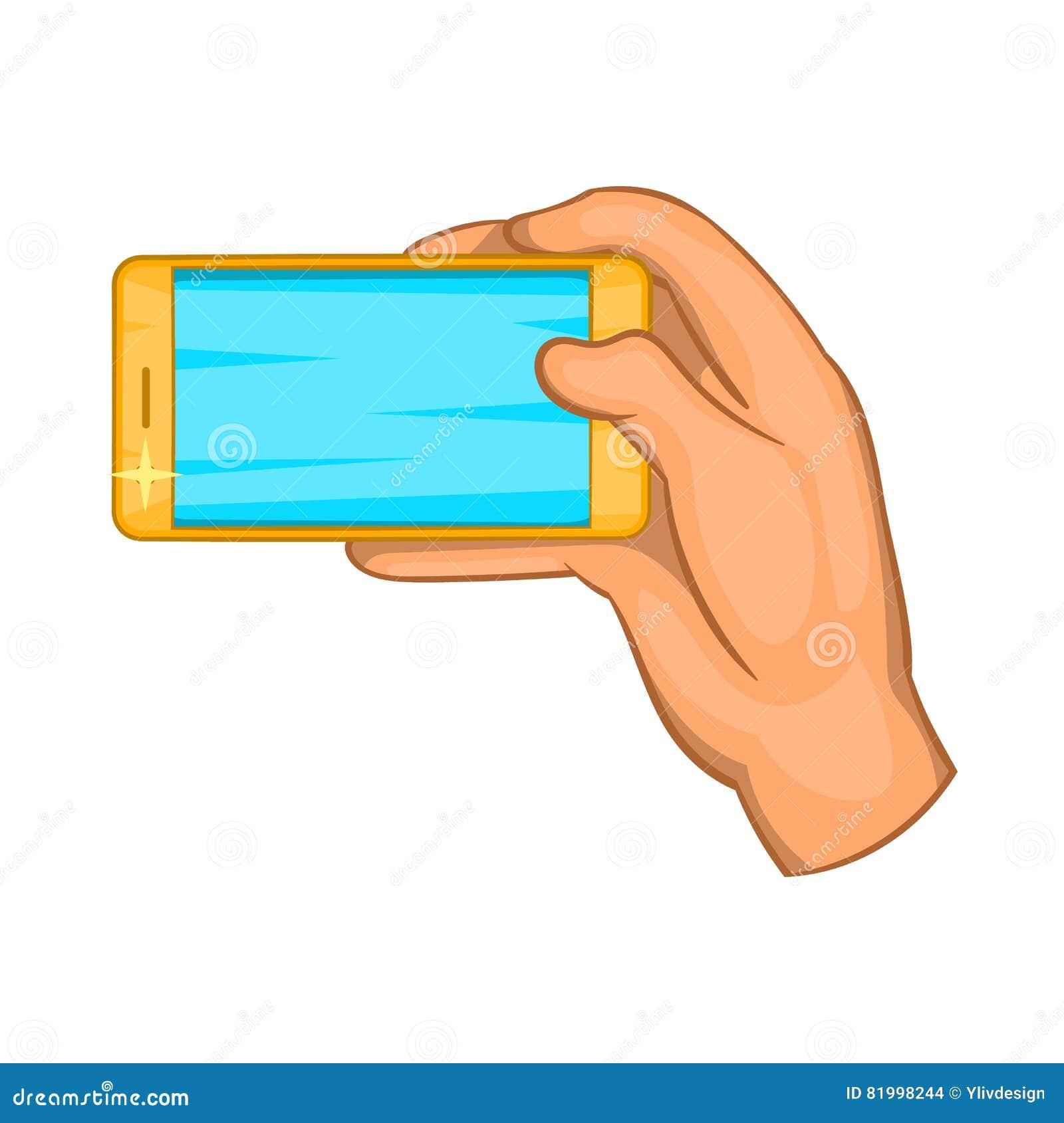 Trabajos de mano con un icono del smartphone, estilo de la historieta