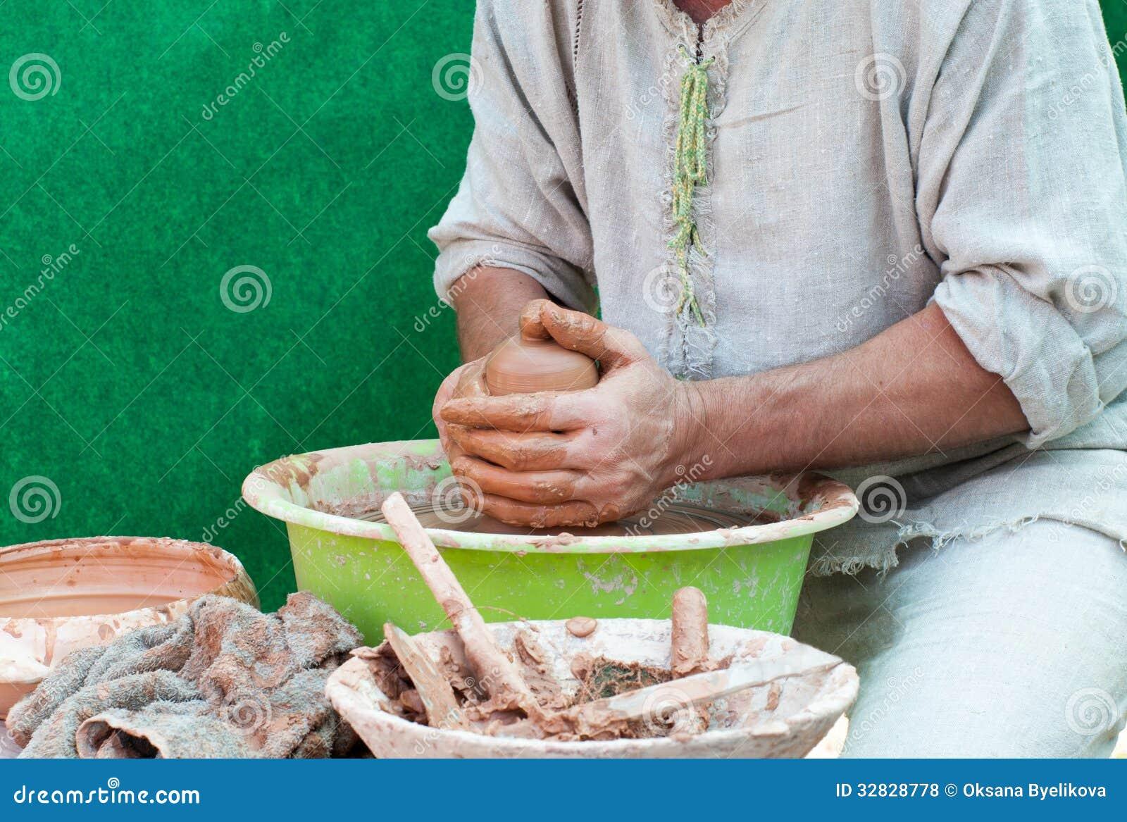 Trabajos del alfarero. Proceso de la creación de la loza en cerámica en el w de los alfareros