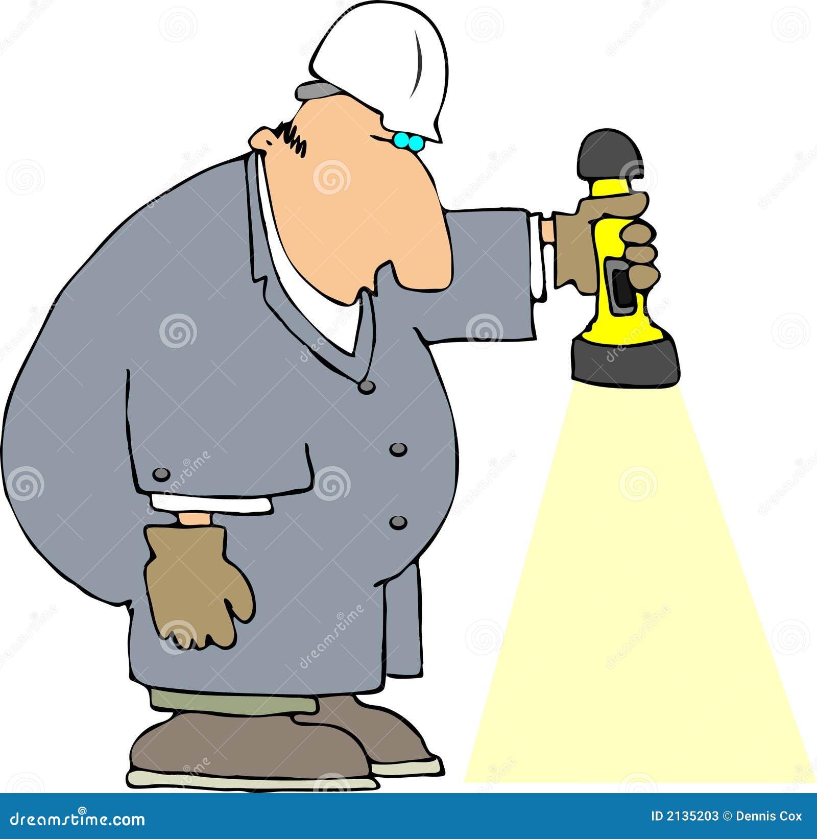 Trabalhador com uma lanterna elétrica