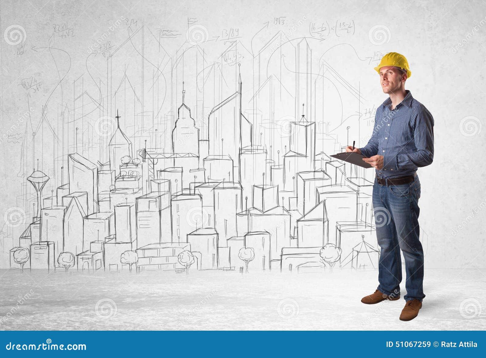 Trabalhador da construção com fundo da arquitetura da cidade