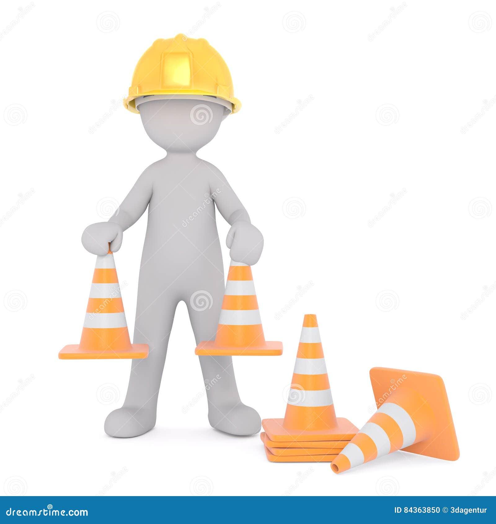 trabalhador da construção placing safety cones dos desenhos animados