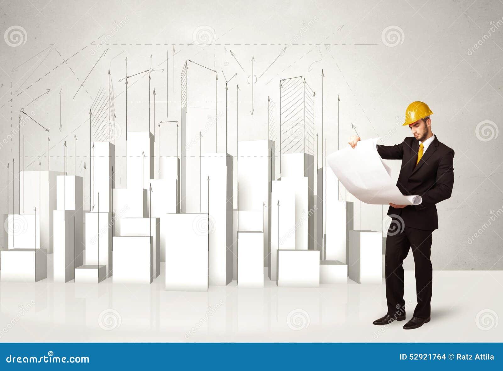 Trabalhador da construção que aplana com construções 3d no fundo