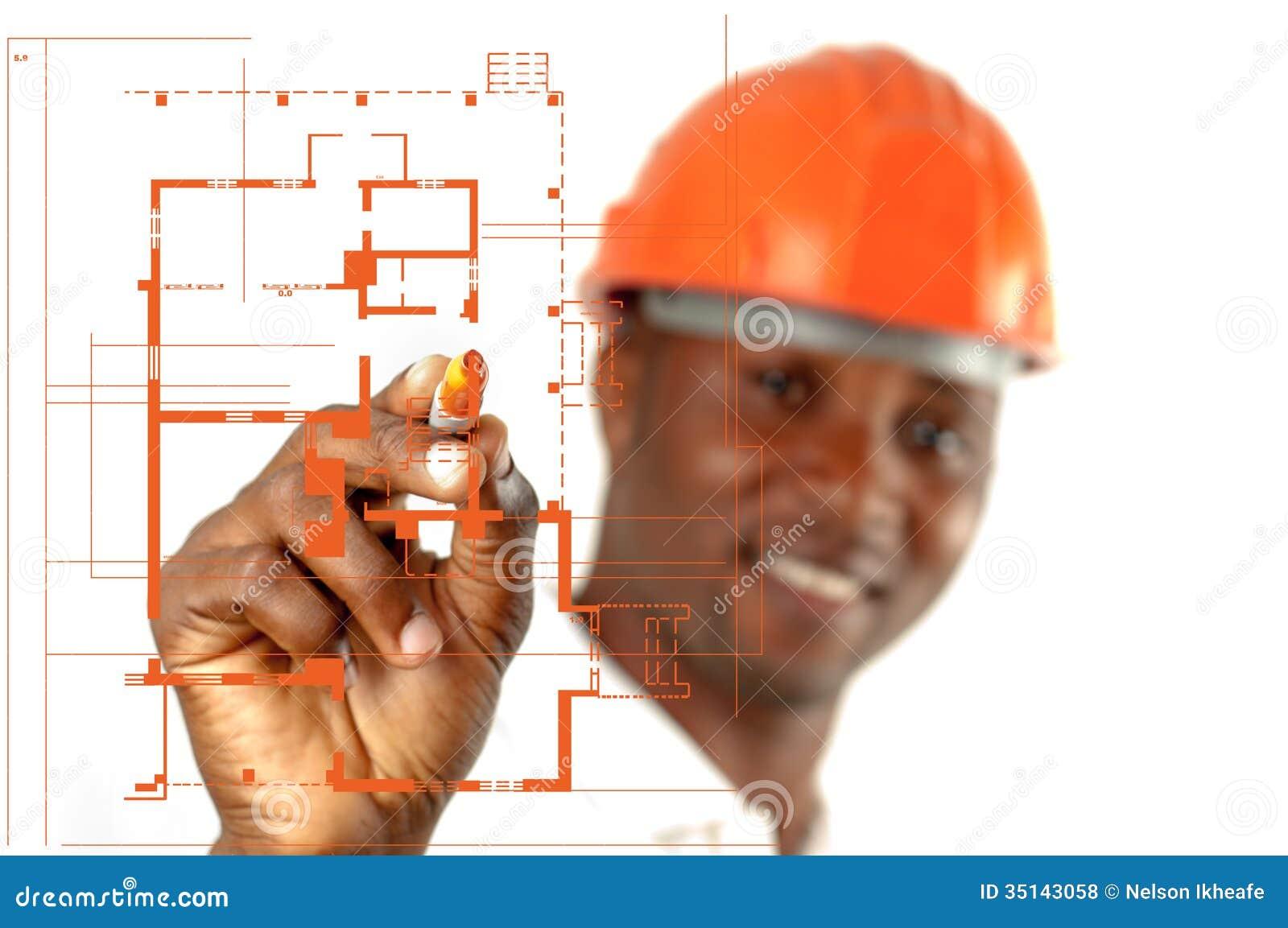 Trabalhador da construção Sketching Blueprints