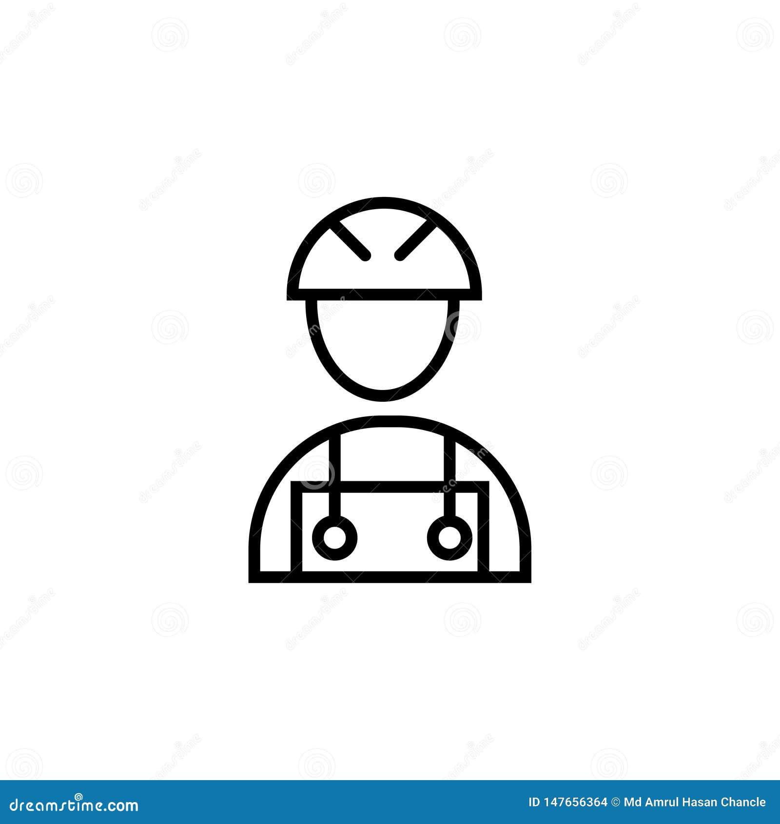 Trabalhador da constru??o do s?mbolo do sinal do vetor do ?cone do trabalhador da constru??o