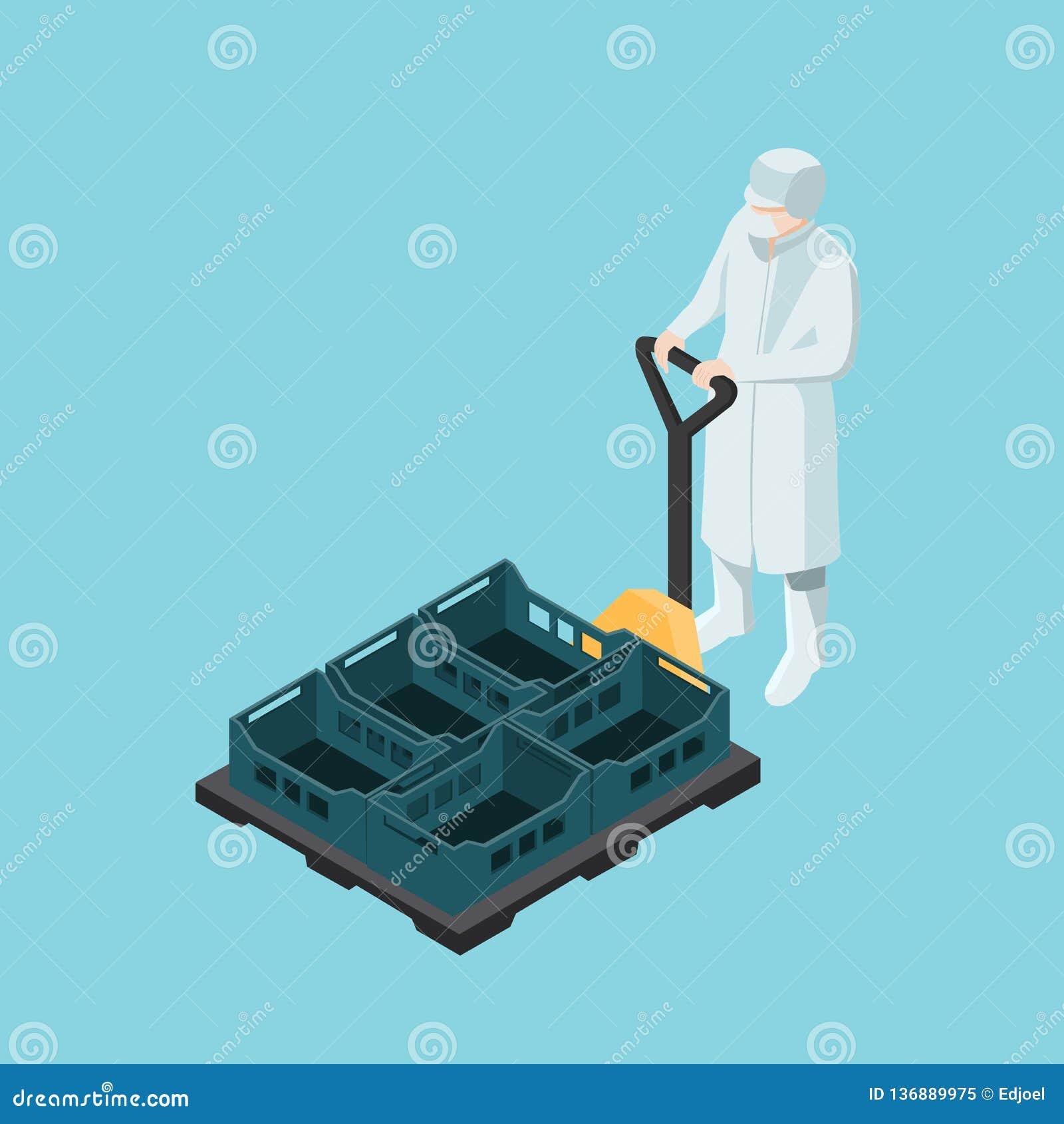 Trabalhador da indústria alimentar que conduz uma empilhadeira manual com as caixas plásticas isométricas
